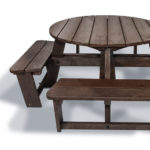 Plaswood group family hero round picnic table detail