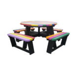 Plaswood group recycled plastic coloured round table detail
