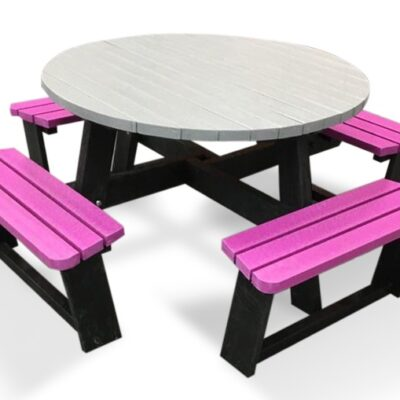 Recycled Plastic Round Picnic Bench In Pink