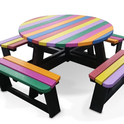 Recycled Plastic Round Picnic Bench In Rainbow Colours